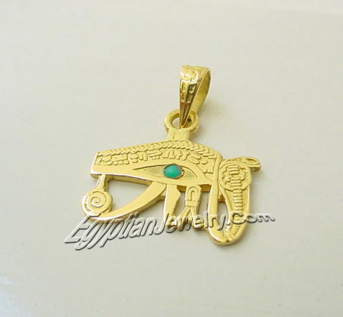 Egyptian gold jewelry the egyptian 18k gold horus eye pendant also know as the udjat meaning eye it was the eye of the falcon god horus son of the goddess aloadofball Image collections