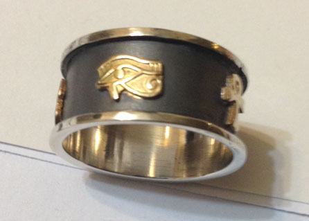 Egyptian Jewelry Cartouche Ring Silver With Gold